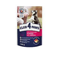 Пауч Club 4 Paws Клуб 4 Лапи для цуценят усіх порід з куркою в желе 100 гр