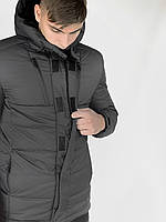Куртка мужская зимняя Everest серая до -25*С   короткая теплая куртка   Пуховик мужской зимний   ТОП качества