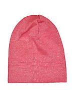 Шапка удлиненная для девочки с люрексом коралловая