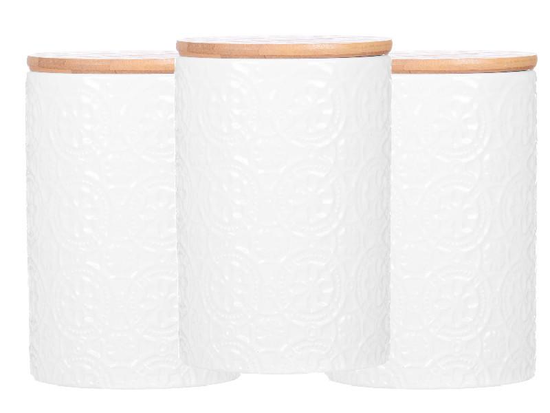 Білі ємності з бамбуковими кришками 15х10х10см 3шт