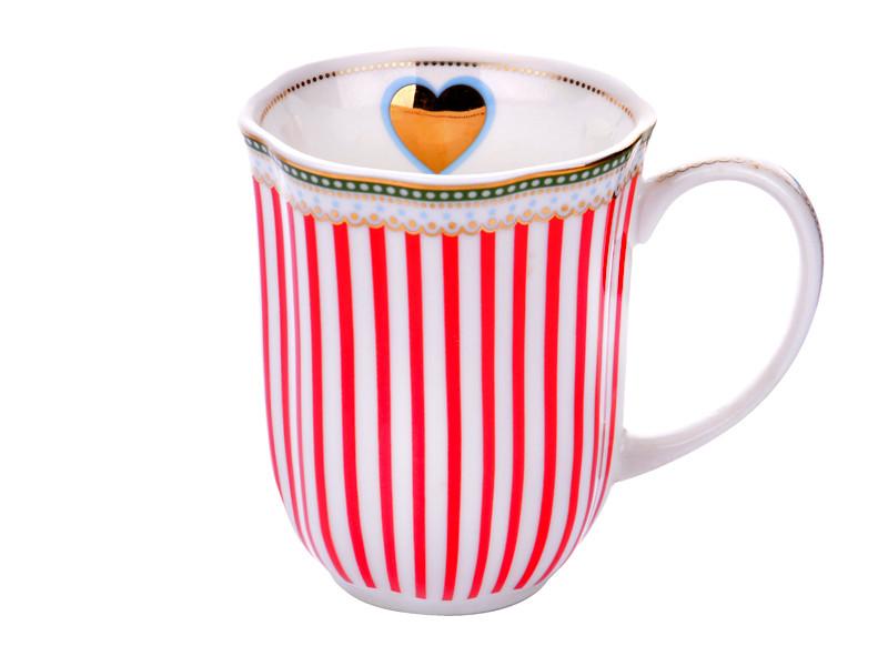 Чашка в красную вертикальную полоску 370мл