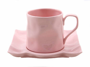 Розовая мятая чашка с блюдцем Пудра 250мл 2пр
