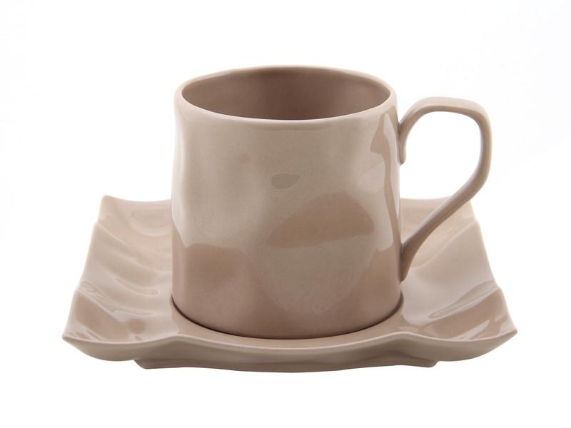 Мятая чашка с блюдцем Нюд 250мл 2пр