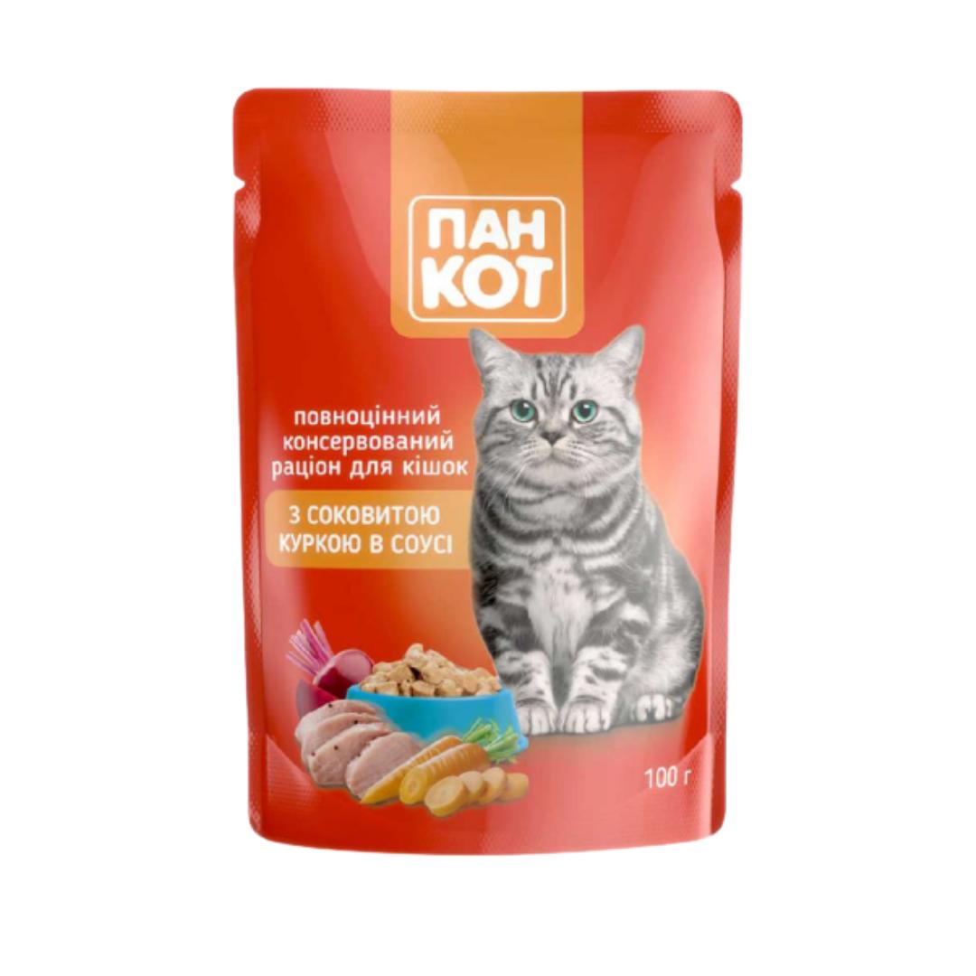 Вологий корм Пан Кот з соковитою куркою в соусі 100 г блок 24 шт