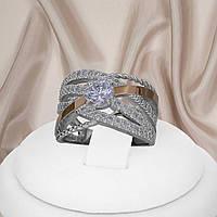 Женское кольцо из серебра с золотыми пластинами и белыми фианитами Мира, фото 1