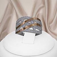 """Женское серебряное кольцо с золотыми пластинами и белыми фианитами """"Наоми"""", фото 1"""