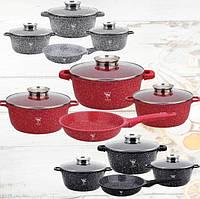 Набор кастрюль со сковородой Top Kitchen TK00076. Набор кухонной посуды с антипригарным мраморным покрытием