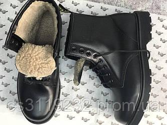 Мужские ботинки зимние Dr Martens (мех) (черный)