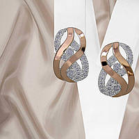 """Женские серьги из серебра 925 пробы с золотыми пластинами 375 пробы белыми фианитами """"Наоми"""", фото 1"""