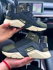 "Кроссовки мужские зимние ACRONYM x Nike Huarache City MID Leather ""Haki Black""  Термо"