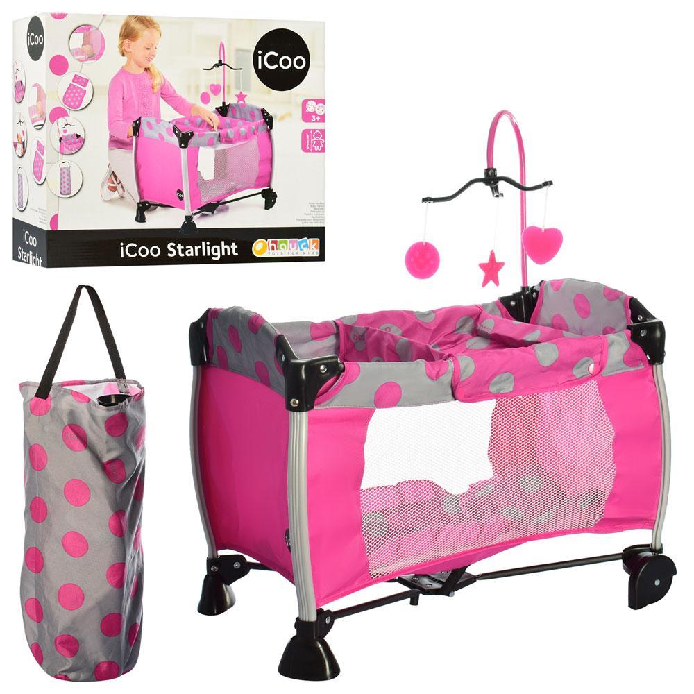 Переносная кровать манеж для кукол, iCoo D90648