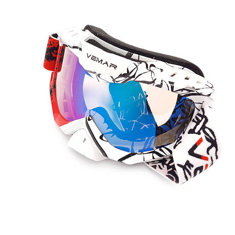 Очки кроссовые VEMAR MJ-1015 (бело-красные, стекло темное), фото 2
