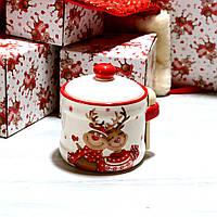 Сахарница керамическая с деревянной ложкой Новогодние Олени 450 мл