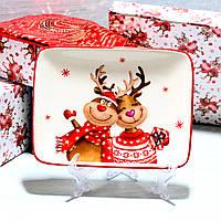 Новогоднее Блюдо сервировочное Новогодние Олени 20*15,3 см