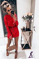 Женское платье, короткое, с поясом. Цвет: беж,серый и красный. Ткань: креп-костюмка. Размер:42-44 46-48.