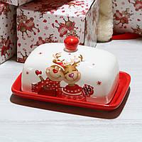 Маслянка Новорічні Олені 17 див. Новорічна посуд з кераміки