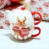Чайний набір Новорічні Олені чашка 400 мл + чайник 480 мл