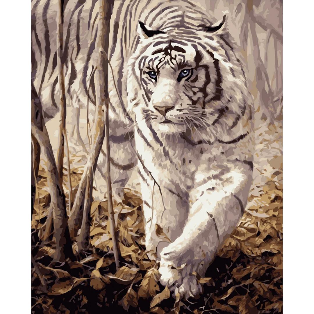 """Картина по номерам """"Белый тигр"""", Strateg, 40х50, без коробки"""