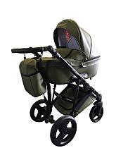 Универсальная коляска Ajax Group AMMI  (эко-кожа/хлопок  цвета) Польша хаки