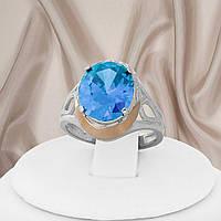 """Красивое серебряное кольцо 925 пробы с золотыми пластинами и аквамарином """"Есения"""", фото 1"""