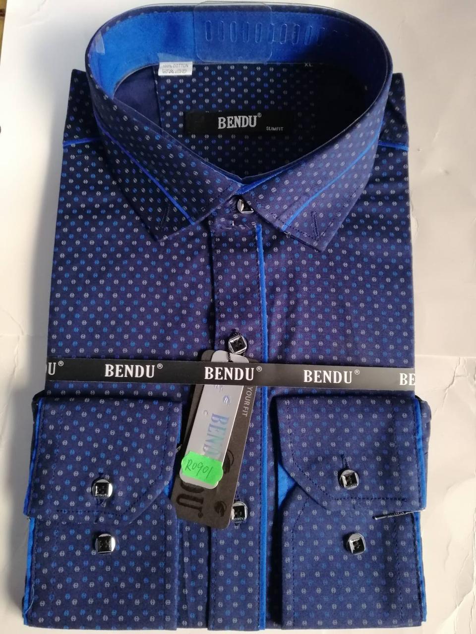 Приталенная рубашка с узором BENDU Синяя (размеры S, M, L, XL, XXL, XXXL) S