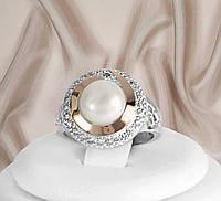 Красиве кільце срібне з перлами і золотими пластинами Катрін 2, фото 1