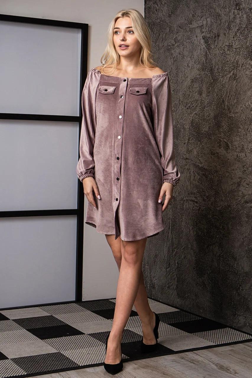 Платье-рубашка из бархатного вельвета фрезия