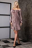 Платье-рубашка из бархатного вельвета фрезия, фото 1