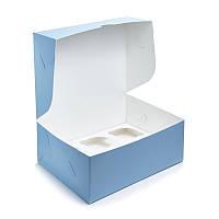 """Коробка на 6 капкейків """"Блакитна"""", 240*180*90"""