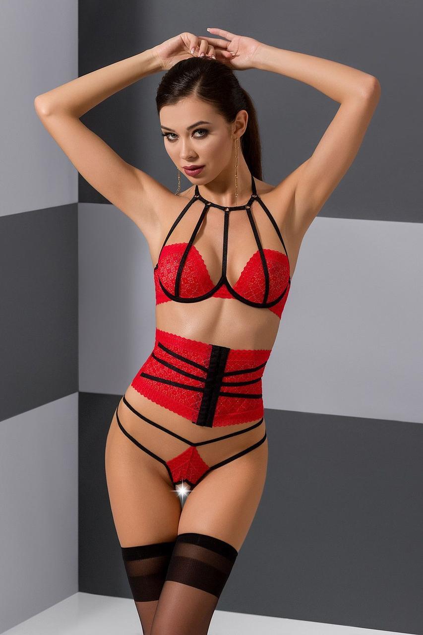Комплект белья AKITA SET red  - Passion Exclusive: широкий пояс, лиф, стринги