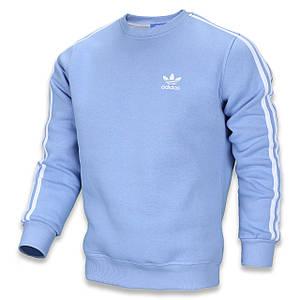 Свитшот осень-зима мужской голубой ADIDAS с бел лампас GLB/WHT L(Р) 21-400-003