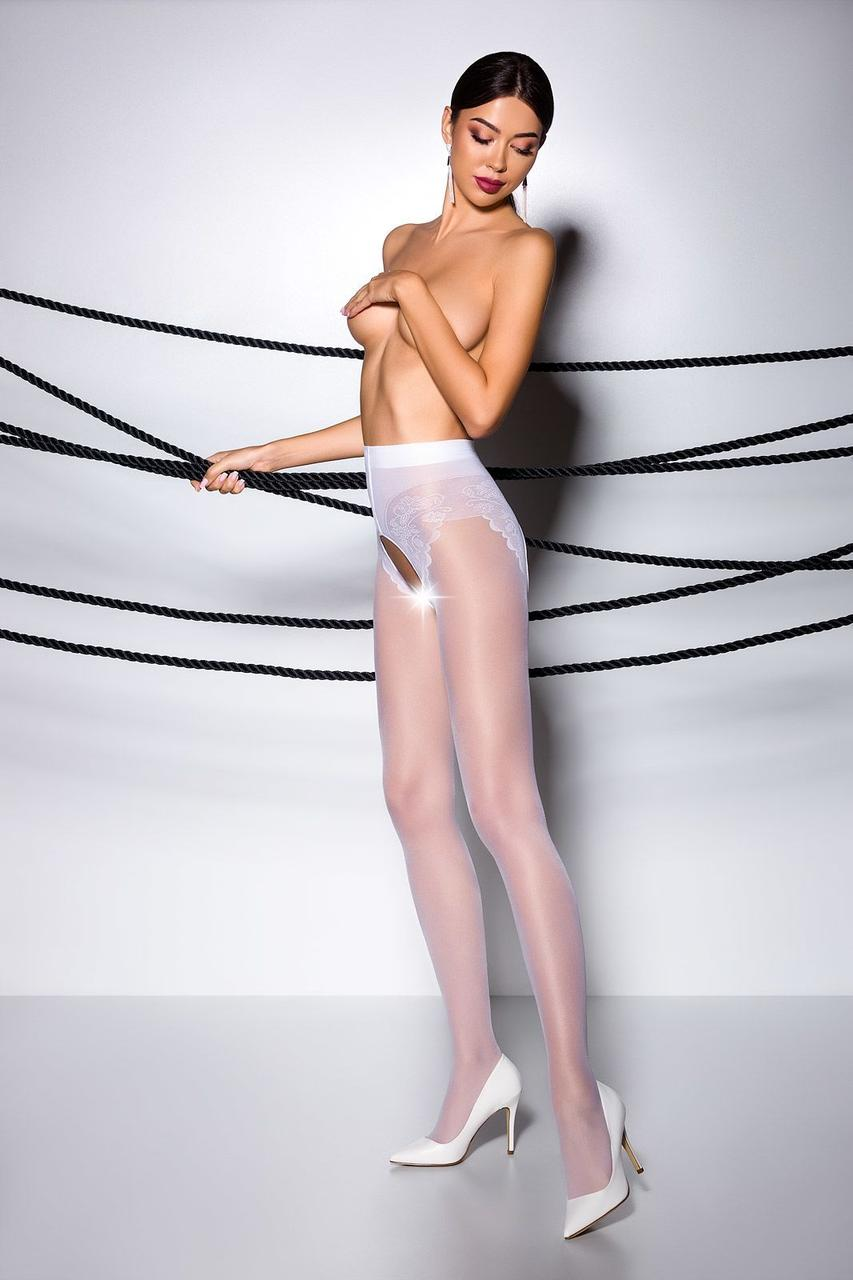 Эротические колготки TIOPEN 006 bianco 1/2 (30 den) - Passion, с вырезом, имитация трусиков