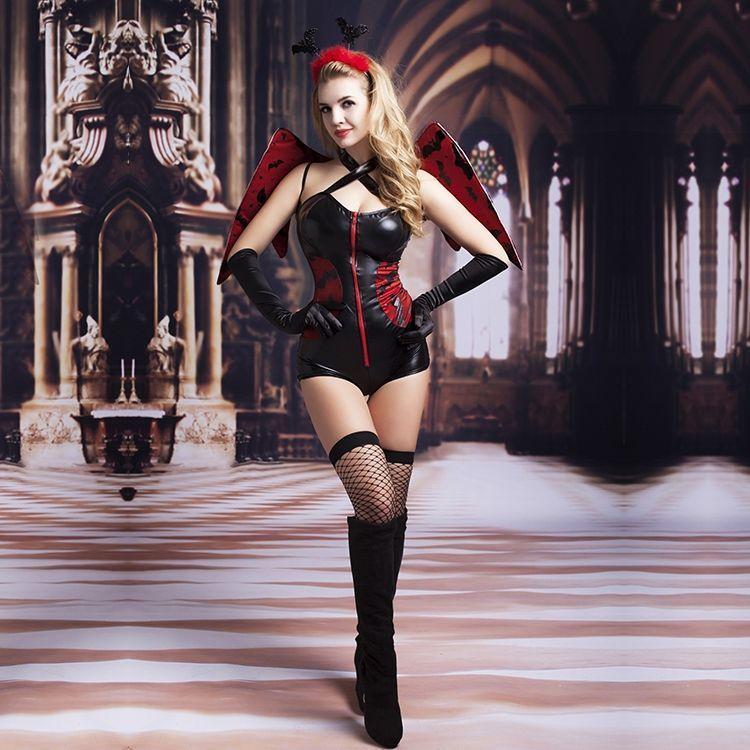 Эротический костюм темного ангела Зажигательная Аманда S/M, боди под латекс, чулки, перчатки, обруч