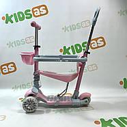 Самокат беговел Galaxy 5в1 GS-0019 розовый с родительской ручкой и корзинкой, фото 3