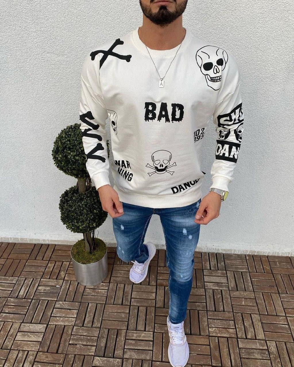 Мужская кофта oversize Bad white