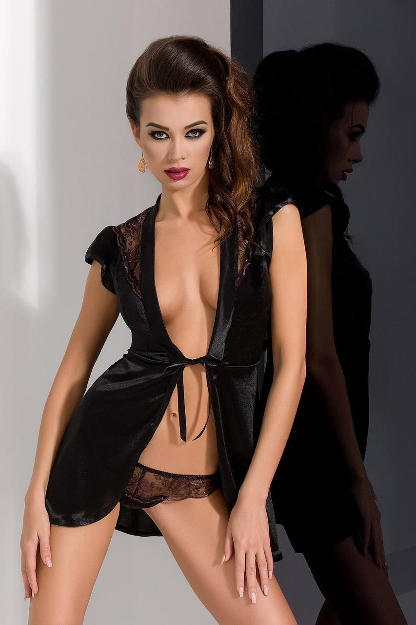 Пеньюар BRIDA PEIGNOIR black L/XL - Passion Exclusive, трусики