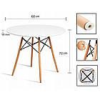 Столик кухонний обідній Bonro В-957-600 60х72 см круглий стіл для кухні, фото 7