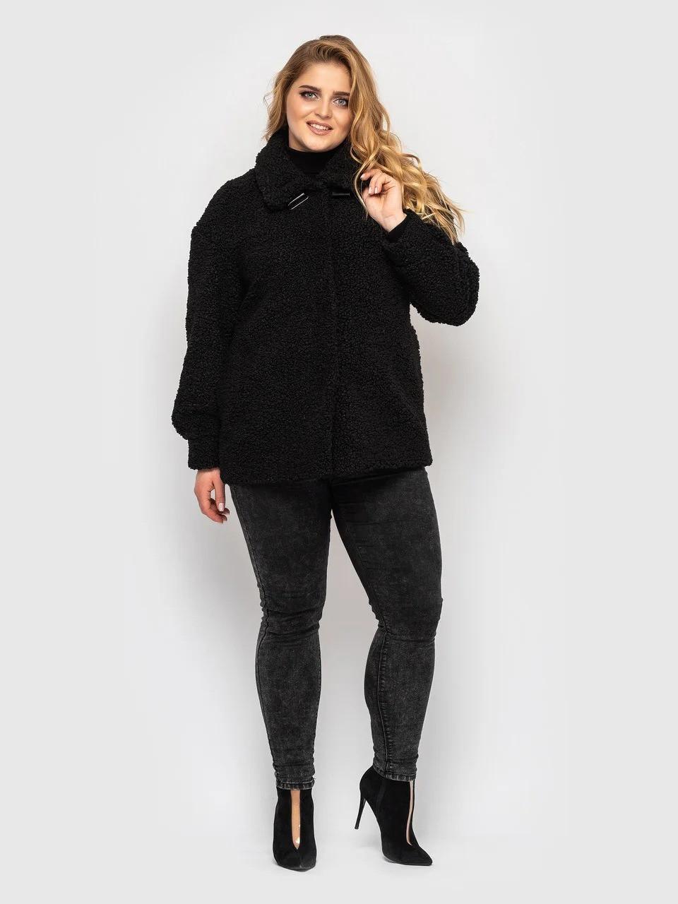 Утепленная женская короткая куртка из экомеха, больших размеров от 50 до 58