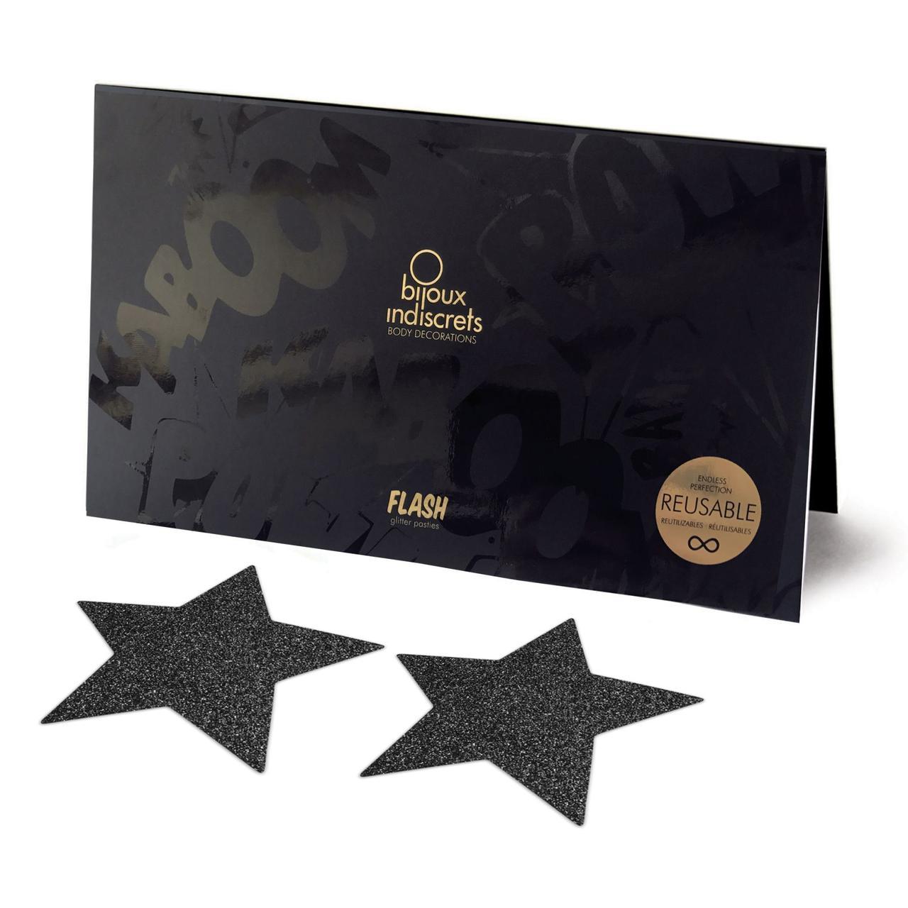 Пэстис - стикини Bijoux Indiscrets - Flash Star Black, наклейки на соски