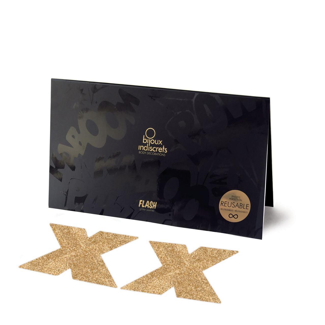 Пэстис - стикини Bijoux Indiscrets - Flash Cross Gold, наклейки на соски