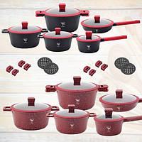 Набор кухонной посуды с мраморным антипригарным покрытием Top Kitchen TK00019. Набор кастрюль с крышками