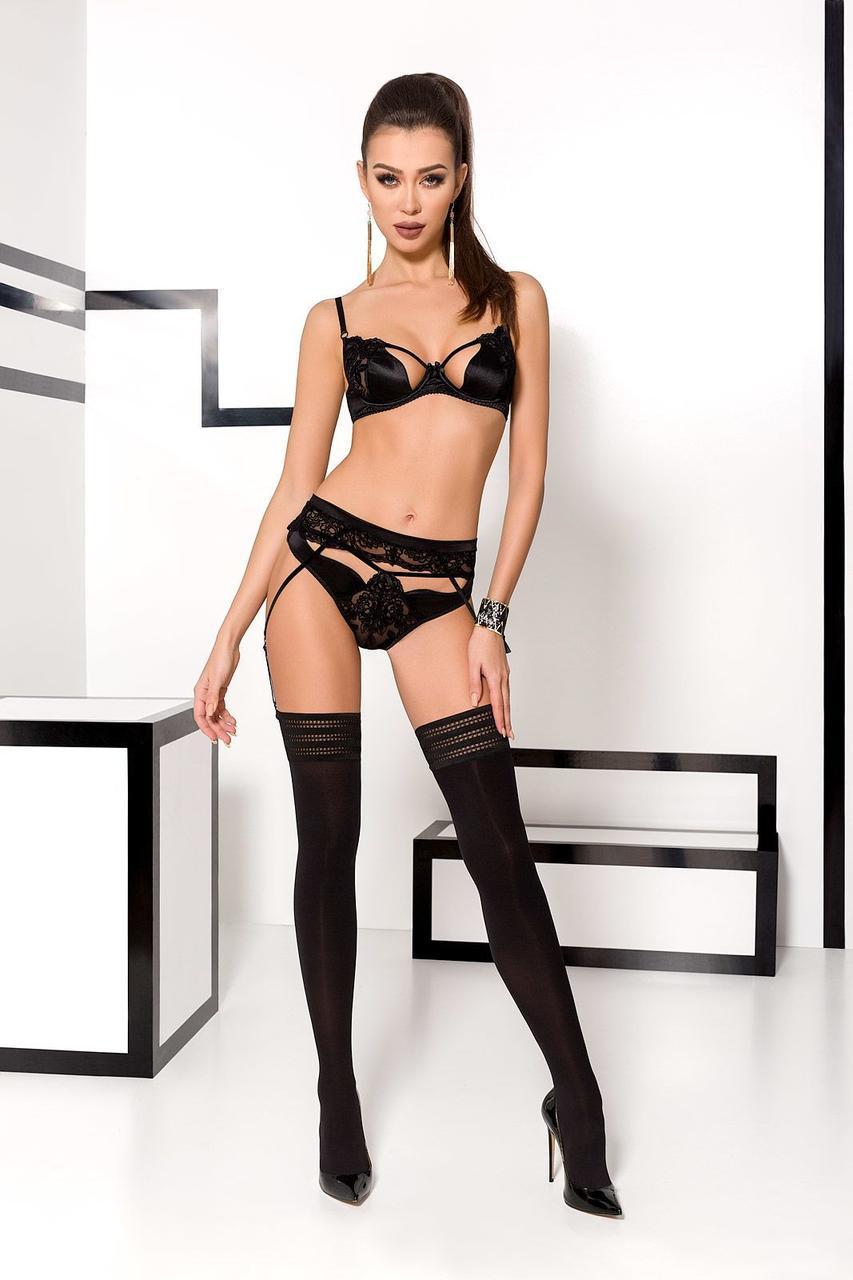 Комплект белья TONYA SET black L/XL - Passion Exclusive: трусики, лиф, пояс для чулок