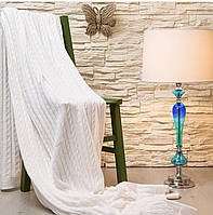 Плед покрывало на кровать вязанное Laura Home White