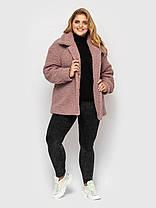 Модное женское короткое пальто из меха пудрового цвета, больших размеров от 50 до 58, фото 2