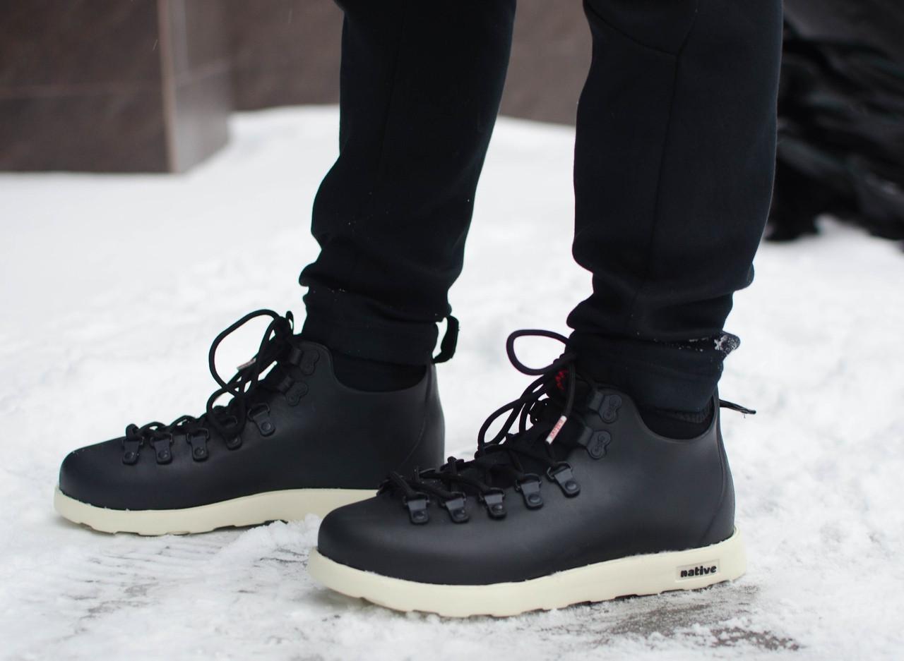 Мужские кроссовки Нейтив Pobedov (черные с белым)