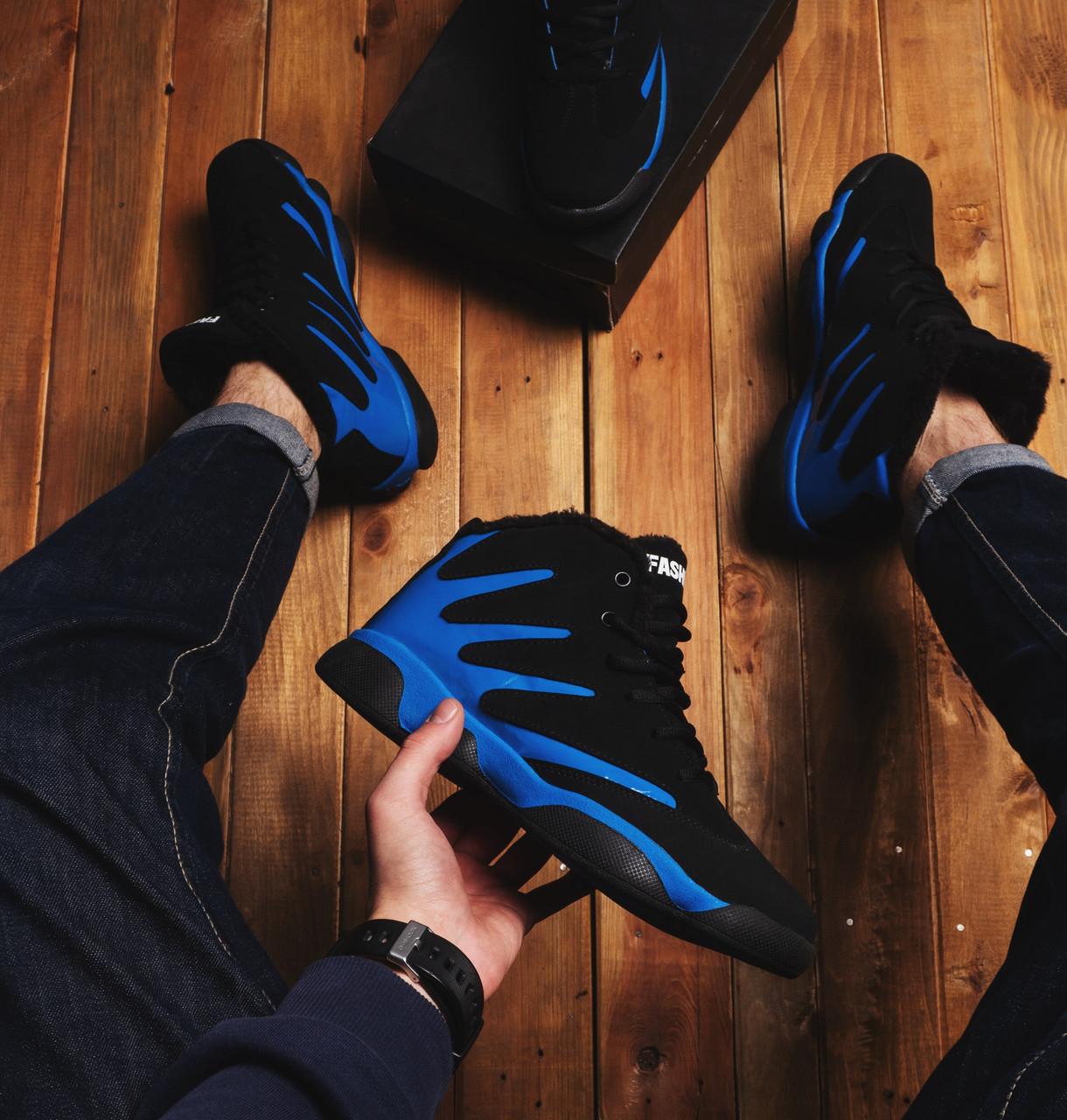Мужские ботинки Альен фешн Pobedov (черные с синей вставкой)