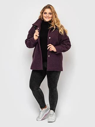 Молодежное женское  пальто из меха с утеплителем, цвет марсала, больших размеров от 50 до 58, фото 2