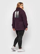 Молодежное женское  пальто из меха с утеплителем, цвет марсала, больших размеров от 50 до 58, фото 3