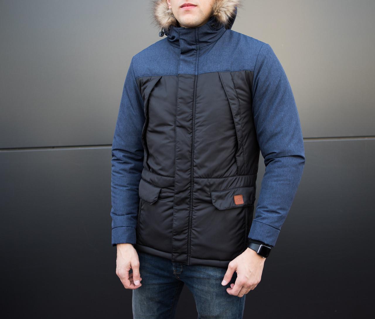 Куртка ALASKA зимняя мужская Pobedov (черная с синей вставкой)