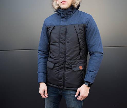 Куртка ALASKA зимняя мужская Pobedov (черная с синей вставкой), фото 2